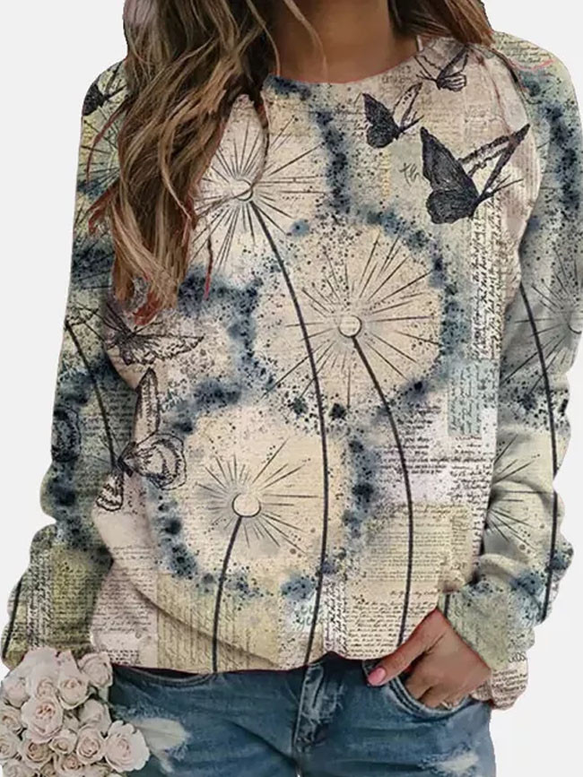 Flower Butterfly Printed Long Sleeve O-neck Pullover Tops Ladies T-shirt