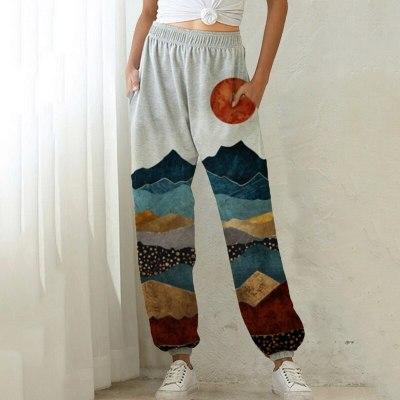 Women Print Autumn Winter Casual  Elastic High Waist Running  Pants