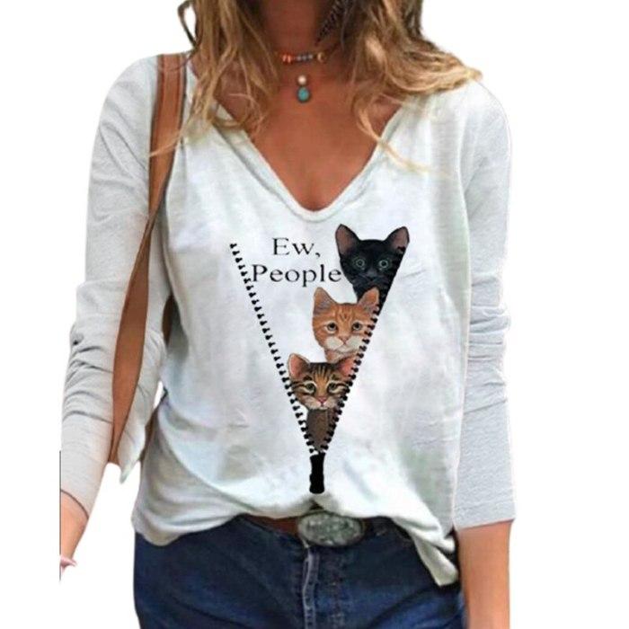 Fashion Cat Print T-shirt Casual V-neck Long Sleeve White Tops