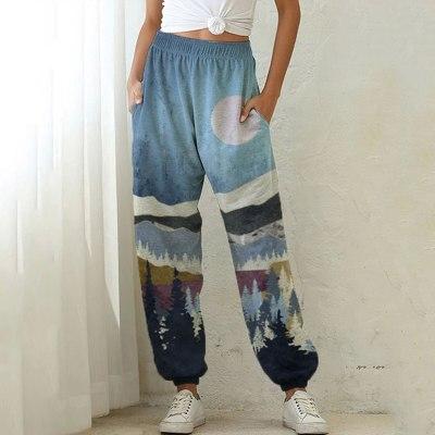 Women Print Pocket Sports Running Athletic Pants Wide Leg Pants