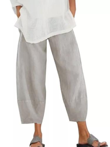 Women Casual Waist Cotton Linen Wide Leg  Loose Pantalon Summer Pant