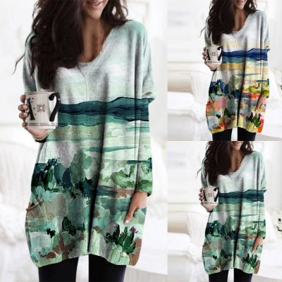 Women's fashion pullover simple V-neck landscape painting oil painting printing long-sleeved top