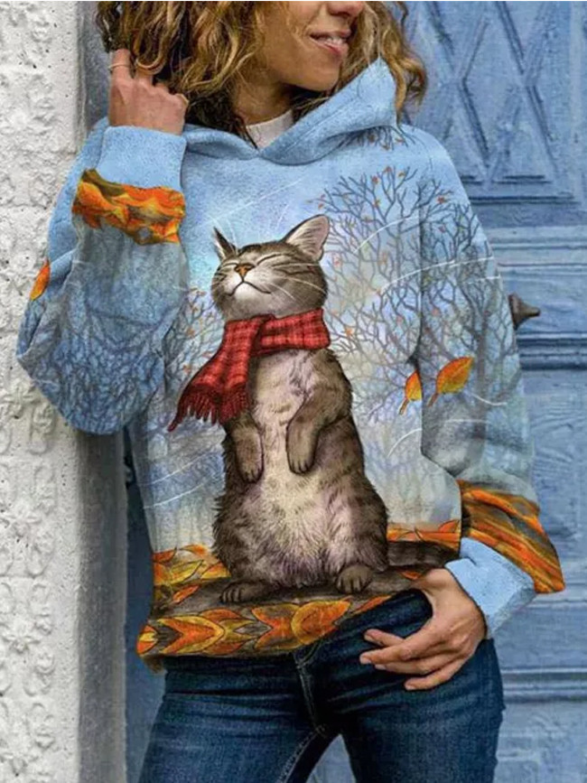 Autumn Winter Cat Print Women Female Batwing Sleeve Solid Color Pullover