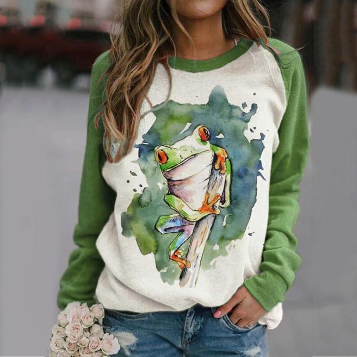 Autumn Women T-Shirt Casual Cute Cat Long Sleeve Tee Pullover Patchwork Tops