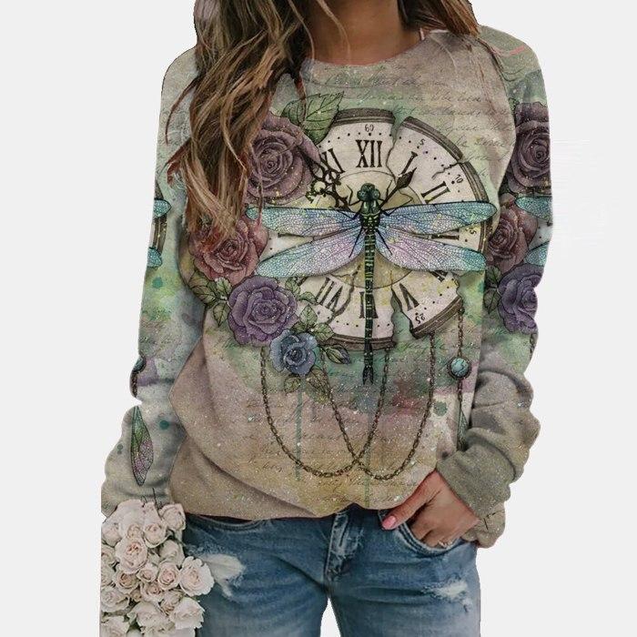 Scenery Butterfly Print T Shirt Women Long Sleeve O-neck Tops