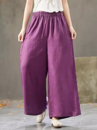 Summer Women Elastic Waist cotton linen Wide Leg Vintage Solid Loose Pants
