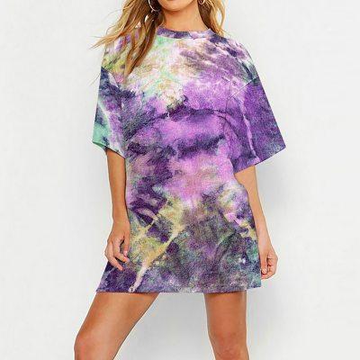Tie Dye Print T Shirt Women Tops Tees O-neck Short Sleeve Female T-Shirt