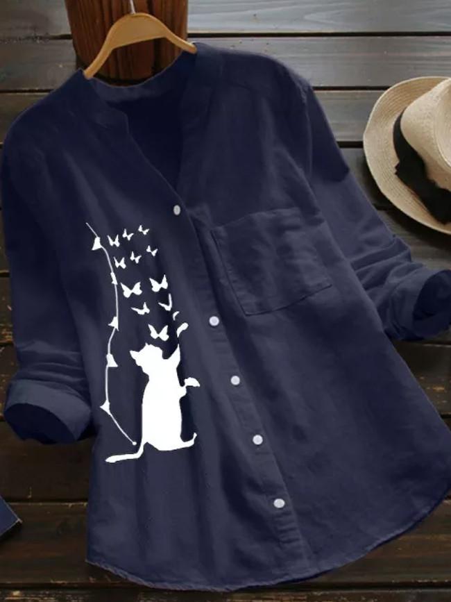Feitong Women Cotton Linen Casual Cat Printed Long Sleeve Button Down Women Blouses