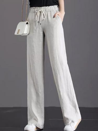 Spring Women Wide Leg  Casual High Waist cotton linen Loose Long Pants