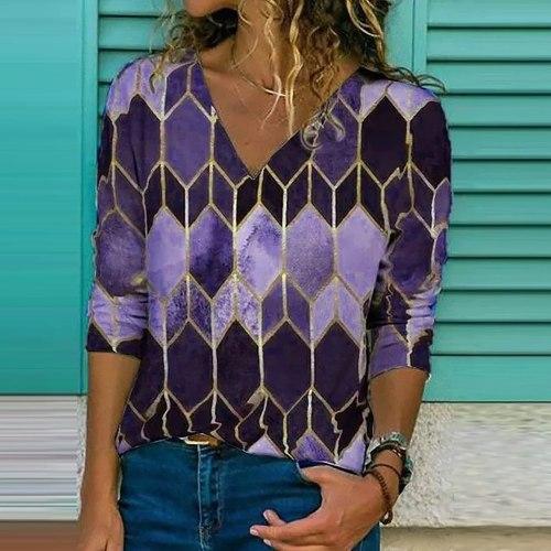 Vintage Women V-neck Print Long Sleeve Loose Blouse Tops