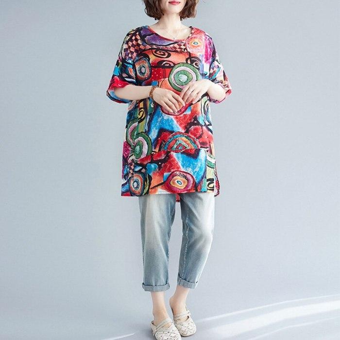 Women Summer T-Shirt  Loose Printed Short Sleeve Tunic Tops