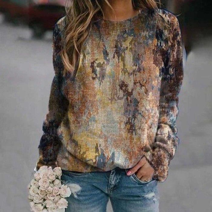Fashion Mountain Element Print Long-sleeved Sweatshirt Round Neck Blouse Autumn Pullover
