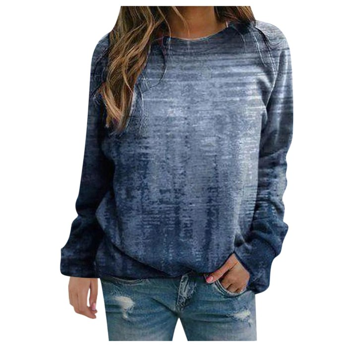 Women T-shirts Vintage Print Long Sleeve O-neck Pullover Tops