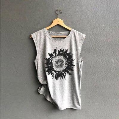Women Sleeveless Sunflowe Print Shirt Casual Loose T-shirts