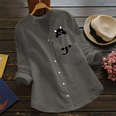 Fashion Pocket Linen Cute Cat Print Blouse Casual Spring  Button Loose Tops