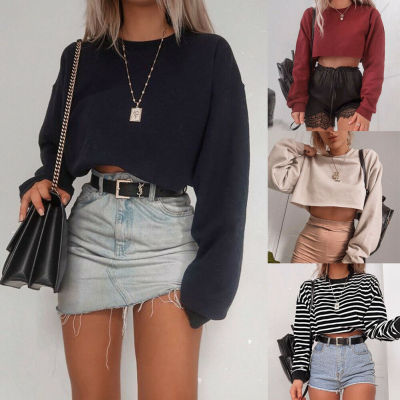 Womens Long Sleeve Sweatshirts Tops Spring Autumn Casual Loose Pullover