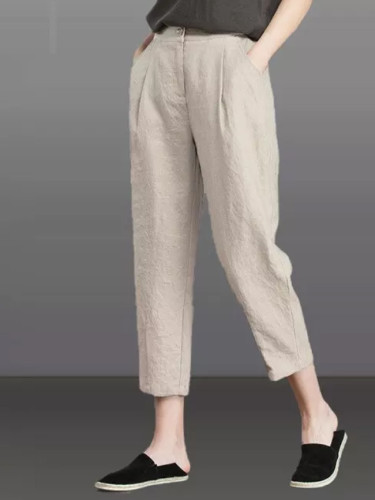 Summer Fashion Women High Waist Harem  Loose Calf-length Casual pants