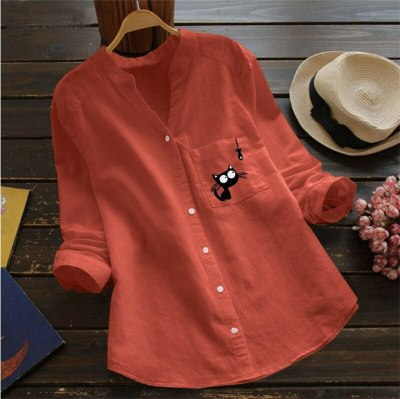 Spring Autumn  Blouses Long Sleeve V-Neck Tops