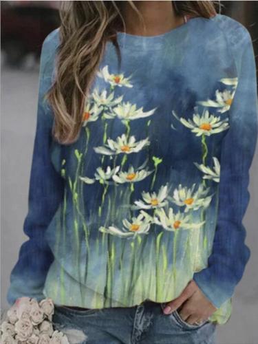 Women Casual Long Sleeve  Printed Women Spring Winter Tops