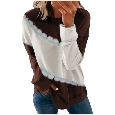 Tie-dye Stitching Casual Long Sleeve Pullover Tops Ladies T-shirt
