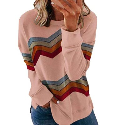 Stripe Print Casual Long Sleeve Color Matching Pullover Tops Ladies T-shirt