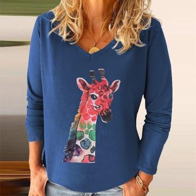 Autumn Casual Long Sleeve Blouse Shirts Women Elegant Deers Print V Neck Pullover