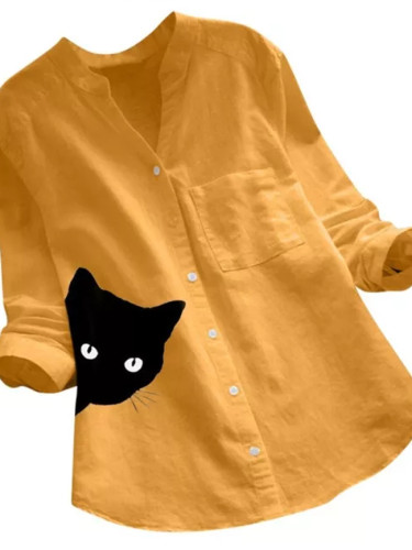 Cat Print Shirt Casual V Collar Long Sleeve Cotton Blouse  Spring Womens