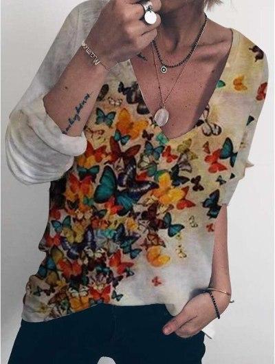 Cute Cat Animal Print long Sleeve Cotton T-shirts