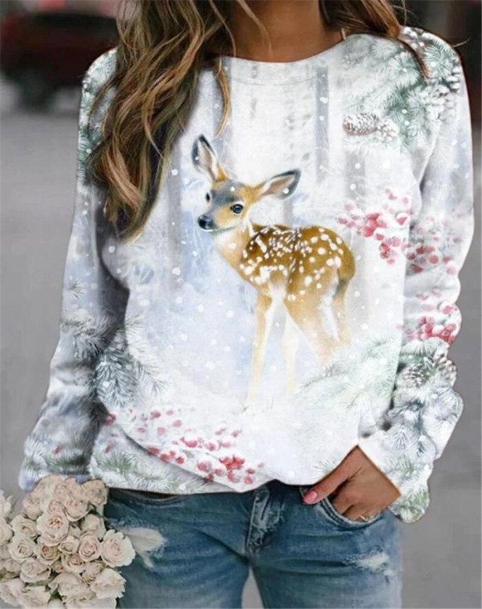 3D Animal Cute Pattern T Shirts Long-Sleeved Top