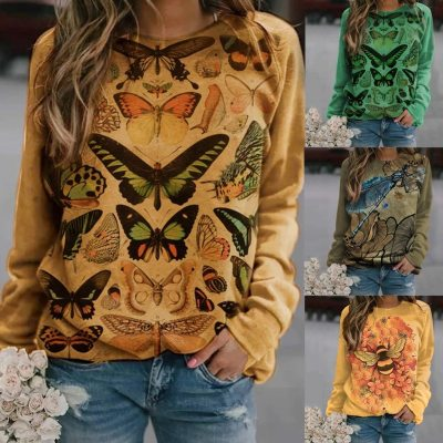Blouse Women O-Neck Butterfly Print Long-sleeved Blouse Tops