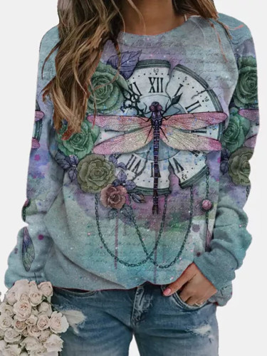 Scenery Butterfly Print T Shirt Women Long Sleeve O-neck Tops