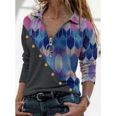 Women Blouses Print  Pile Zipper Turn-Down Tops Fashion  Shirt