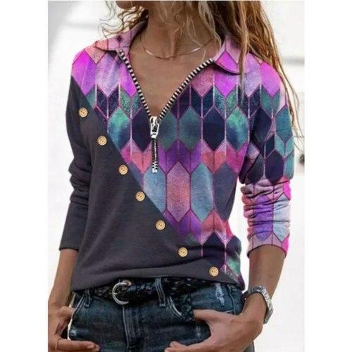 Women Blouses Print  Pile Zipper Turn-Down Tops Fashion  Shirt