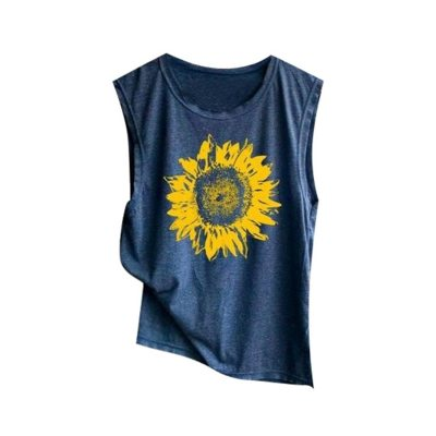 Women Sleeveless Sunflowe Print Shirt Casual Loose T-shirts