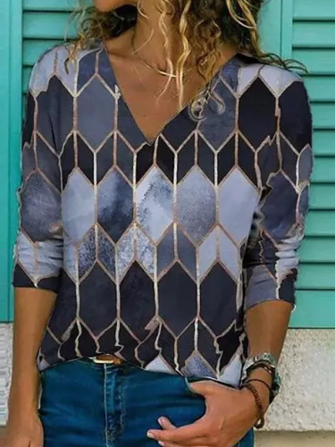 Vintage Women V-neck Print Long Sleeve Loose Blouse Tops