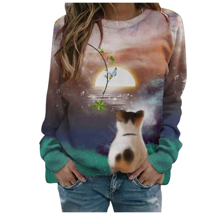Cat Moon Landscape Printed Women Painting T Shirt Long Sleeve Round Neck Tops