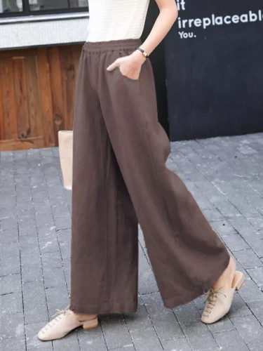 Summer Women High Waist Loose Solid Cotton Straight Casual  Pants