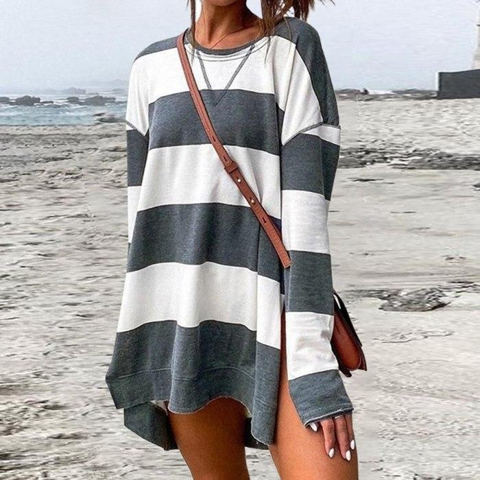 Women Stripe Long Sleeve T-shirt O Neck Irregular Hem Casual Loose Long Pullovers