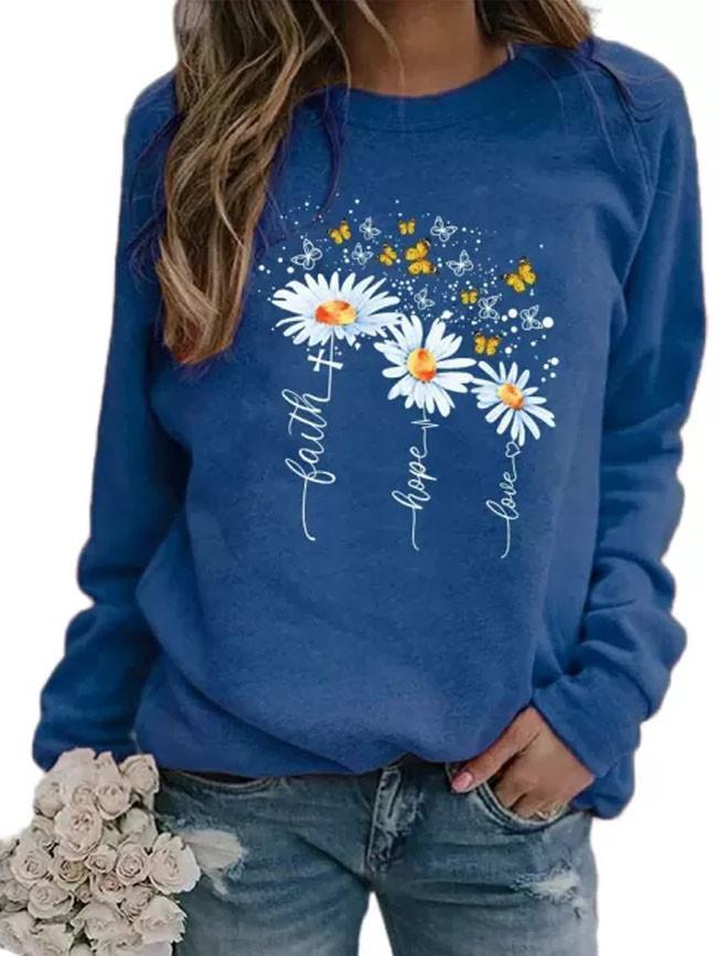 Women Flower Daisy Butterfly Printed Round Neck Long Sleeve Sweatshirt Pullover
