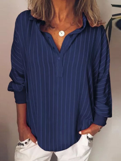 Loose Casual Striped Button Lapel Long Sleeve Shirt Top