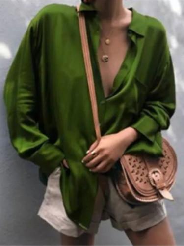 Women Sexy Deep V-neck Satin Blouse Tops Loose Long Sleeve Female Spring Shirt