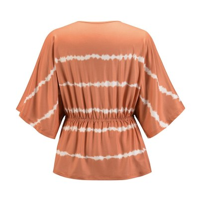 Fashion Gradient Color Blouse Lady Casual Loose V-neck Tee Tops