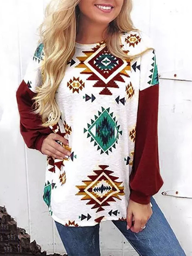 Christmas Clothes Round Neck Loose Stitching Print Women Sweatshirt Tops