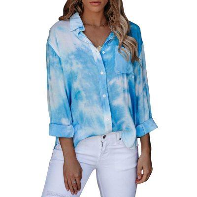 Fashion Women Blouses Tie-dye Printed Long Sleeve Button Turn-down Collar Top Blouse