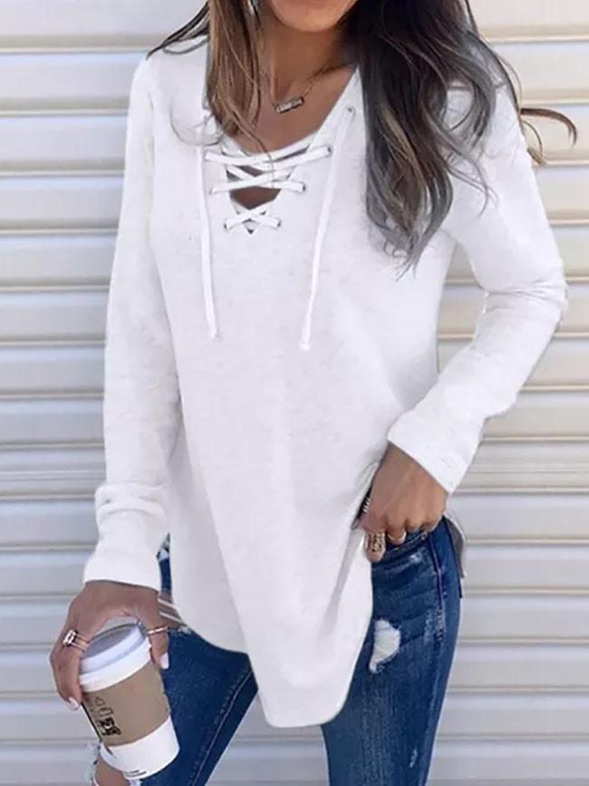 Female Bandage Blouse V Neck Strap Long Sleeve Shirt Top