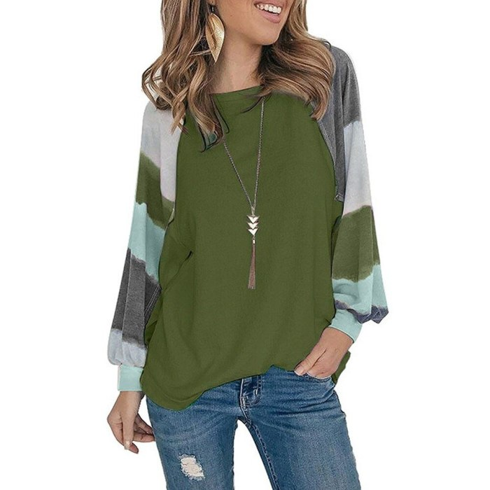 Casual T-Shirts for Women Long Sleeve O-Neck Autumn Loose Tops Pullover
