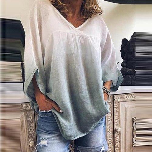 Tie Dye Print Blouse Bat Sleeve V-Neck Tee Casual Summer Short Sleeve