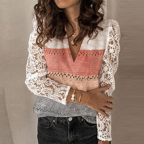Women Chiffon Blouse Autumn Deep V-neck Long Sleeve Shirt