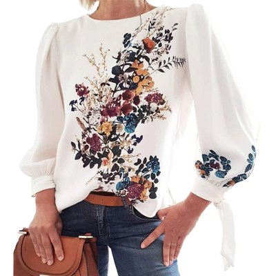 Women Printed Embroidery Blouse Casual  O Neck Long Sleeve Shirt