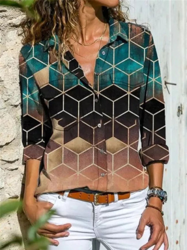 New long-sleeved all-match casual women's shirts fashion printed tops
